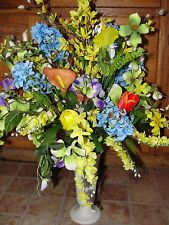 Mothers Valentines Day Urn Vase Spring Sweet Pea Silk Flowers Cemetery Grave