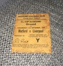 1969-70 WATFORD V LIVERPOOL LEAGUE CUP 2ND ROUND MATCH TICKET 3-9-69