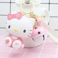 Cute Hello Kitty Character Bear Key Chain (key ring) c/w Small Bell Bag Pendant