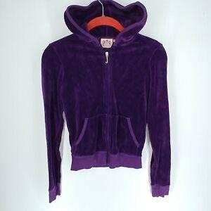 Juicy Couture Juniors Full Zip Hoodie Jacket J BLING Size Small Purple Velour
