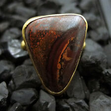 Handmade Hammered Natural Boulder Opal Ring 22K Gold over 925K Sterling Silver