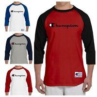 Champion T-shirt Raglan (16 Colors) S-3XL Script Logo - Brand New - Baseball ⚾