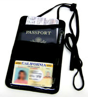 Black Leather Passport Travel Lanyard Pen ID Holder Neck Strap Thin Organizer