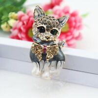 Cat Animal Crystal Rhinestone Pearl Enamel Brooch Pin Women Costume Jewelry Gift