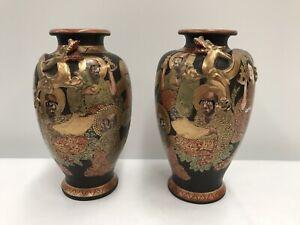 Two Vintage Satsuma Dragon, Immortals & Geisha Girls Black Vases