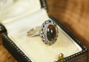 Vintage Sterling Silver Moss Agate Cabochon & Marcasite Halo Ring Size O 925