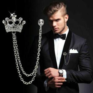 Royal Crown Shirt Wedding Suit Men' Accessory Collar Clip Chain Brooch Lapel Pin
