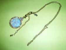 Awesome Kirks Folly Necklace Iridescent Glass Smiling Moon Design Gold-tone