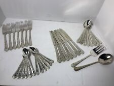 WM Rogers & Son Flatware 36 PC Set ENCHANTED ROSE Silver Electroplate Stainless