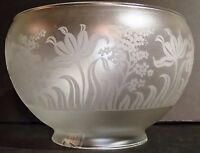 "ETCHED FLORAL DESIGN GAS LAMP SHADE 4"" Fit.  FIXTURE GLOBE VIANNE FRANCE"