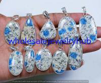 k2 Blue Azurite Gemstone 5 pcs Wholesale Lots 925 Sterling Silver Plated Pendant