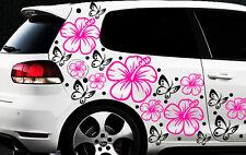 98-teiliges Aufkleber Hibiskus Blumen Schmetterlinge HAWAII WANDTATTOO Wand