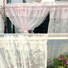 Lace Floral Door Curtains Short Doorway Noren Valance Cabinet Cover Country Thin