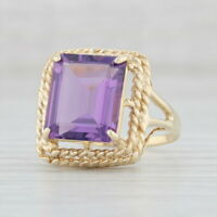 4.80ctw Amethyst Ring 10k Yellow Gold Size 7.25 Emerald Cut Solitaire