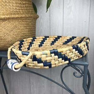 Vintage Rattan Woven Oval Serving Casserole Basket Ceramic Handles Oval Blue