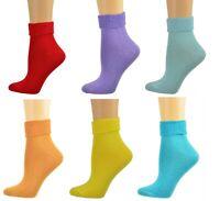 Sierra Socks Women Triple Cuff Crew Cotton Colorful Socks 6 Pair Pack W6011