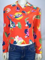 Bloomingdales Orange Floral 100% Silk Long Sleeve Blazer Womens Size 2 XS