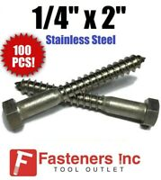 100 pcs 5//8 X 3 Hex Head Lag Screw Bolts 18-8 AISI 304 Stainless Steel
