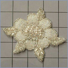 SILVER PEARL DESIGNER FLOWER BEADED APPLIQUE 0247-A