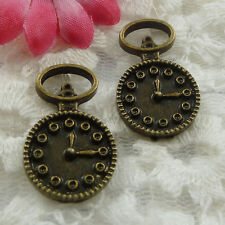 Free Ship 30 pieces bronze plated clock charms 26x16mm #646