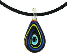 Lucky Evil Eye Murano Glass Protection Pendant in Red, Blue and Yellow