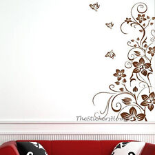 Brown Butterfly Vine Flowers Tree Wall Decals Stickers Vinyl Removable Wallpaper
