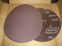 "50 pcs Standard Abrasives Norton 7"" Grit 120 A/O-RB PSA Sanding Discs EDP 714237"