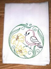 SCARLET TANAGER AND DAYLILIES EMBROIDERED FLOUR SACK DISH TOWEL