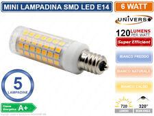 CONFEZIONE 5 MINI LAMPADINE CORN LED SMD 2835 E14 6W 720 LUMEN 3000K 4000K 6000k