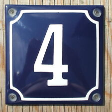 FRENCH ENAMEL HOUSE NUMBER SIGN. WHITE No.4 ON A BLUE BACKGROUND. 10x10cm.