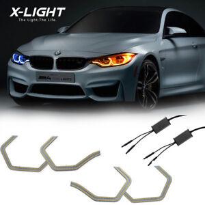 Switchback White Amber Concept M4 Style LED Angel Eye Halo Ring Kit For BMW F30