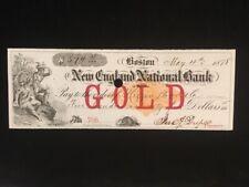 U.S: USED CHECK #RNM2 GOLD 1878 NEW ENGLAND NATL BANK BOSTON MASS