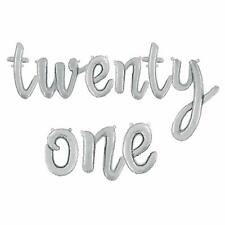 "Twentyone -14""Silver Script Letter Balloons–Inflate with Air - SSCRIPT-TWENTYONE"