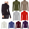 WOMENS LADIES SKINNY RIBBED POLO TURTLE HIGH ROLL NECK LONG SLEEVE TOP SIZE 8-14