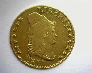 1807 CAPPED BUST RIGHT GOLD $5 NEAR CHOICE UNCIRCULATED LOW MINTAGE & VERY RARE!