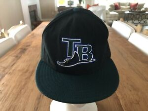 New Era 59Fifty Black/Green Tampa Bay Rays Hat 7 3/8