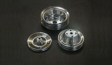 Chrome Small Block Chevy 2/3/1 Groove Pulley Set LWP Crank PS SBC