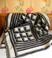 This beautiful  hand crocheted blanket is ready to ship Handmade from 100% wool