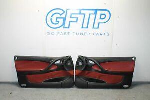 04-06 PONTIAC GTO OEM FACTORY RED LEATHER ALCANTARA DOOR CARD PANEL SET LH RH