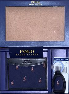 Polo Ralph Lauren Men's Slim ID Card Case Wallet & Keychain Set New With Tags