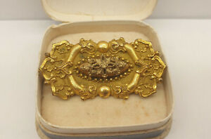 Beautiful Antique Edwardian Large Etruscan Revival Rolled Gold Brooch with Box