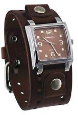 Nemesis BBB516B Men's Dark Brown Wide Leather Cuff Band Analog Brown Dial Watch