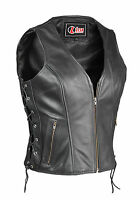 Womens Vintage Biker Motorcycle Real Leather Waistcoat Vest Ladies Vintage Coats