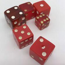 Lot of 6 Vintage RED ? Bakelite ? Dice, Various Sizes (RF641)