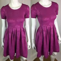 LulaRoe Women's XXS Purple Floral Textured Pleated Amelia Flare Shift Dress