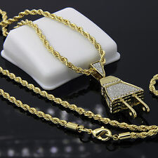 "Gold Plated Iced Out Wall Plug Hip-Hop Pendant 24"" Rope Chain Necklace D512"