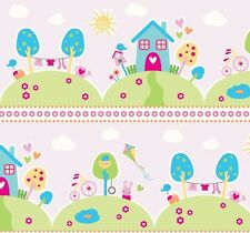 Riley Blake Sweet Home Fabric C3730 Pink BABY NURSERY KIDS MATERIAL COTTON UK FQ