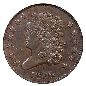 1826 C-2 R-3+ ANACS EF 45 Classic Head Half Cent Coin 1/2c