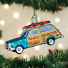 Surf's Up Wagon Woody Car Glass Ornament Old World Christmas NEW IN BOX