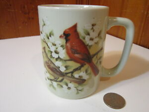 Vintage Otagiri Male Female Red Cardinals in Magnolia Tree 10oz Coffee Mug EUC
